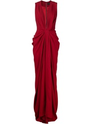Thakoon Deep V Neck Draped Evening Dress Red