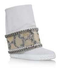 Casadei Chaucer Leopard Wedge Boots Female White