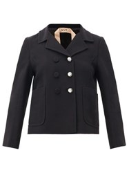 N 21 No. Tailored Crystal Button Crepe Jacket Black