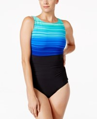 Reebok Desert Rays High Neck Active One Piece Swimsuit Women's Swimsuit Blue
