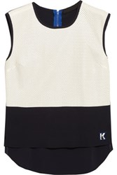 Karl Lagerfeld Jordana Perforated Faux Leather And Stretch Cady Top Navy