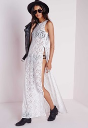 Missguided Sheer Lace Side Split Maxi Dress White White