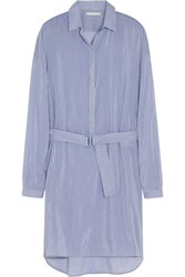 Richard Nicoll Striped Cotton And Silk Blend Shirt Dress Blue