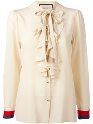 Gucci Frill Pussy Bow Blouse Nude Neutrals