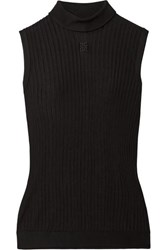 Givenchy Embroidered Ribbed Knit Turtleneck Top Black