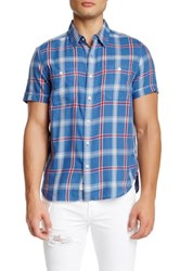 Lucky Brand Regular Fit Western Plaid Shirt Blue