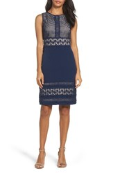 Adrianna Papell Women's Lace And Crepe Sheath Dress Dusk