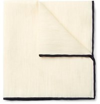 Kingsman Drake's Slub Linen And Cashmere Blend Pocket Square Cream