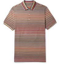 Missoni Striped Knitted Cotton Polo Shirt Multi