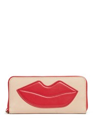 Alice Olivia Lip Patch Leather Continental Wallet Neutral Multi Colour