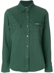 Ck Calvin Klein Jeans Long Sleeved Shirt Cotton Green