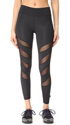 Terez Slash Mesh Ankle Leggings Black