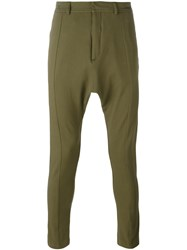 Balmain Dropped Crotch Tapered Trousers Green