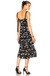 Prabal Gurung Floral Print Jacquard Tiered Ruffle Dress In Black Floral Black Floral