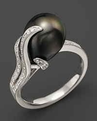Tara Pearls 14K White Gold Diamond And Tahitian Cultured Pearl Ring 10Mm