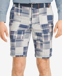 Izod Men's Madras Patchwork Flat Front Shorts Deep Indigo