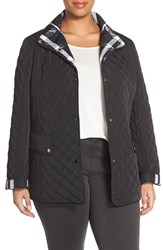 Plus Size Women's Gallery Plaid Trim Quilted Barn Jacket Black
