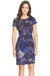 Ellen Tracy Print Ponte Sheath Dress Blue Multi