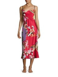 Natori Mikado Printed Charmeuse Sleep Gown Red