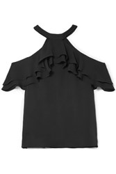 Draper James Cold Shoulder Ruffled Silk Blouse Black