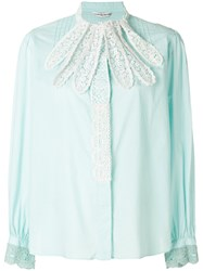 Tsumori Chisato Lace Embroidered Fitted Shirt Blue