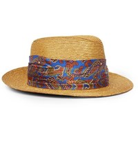 Etro Silk Trimmed Straw Trilby Hat Blue