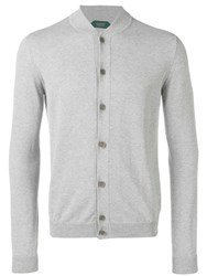 Zanone Round Neck Cardigan Grey