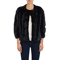 Lilly E Violetta Women's Sara Fur Jacket Black Blue Black Blue