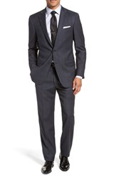 Hart Schaffner Marx Big And Tall New York Classic Fit Stretch Plaid Wool Suit Navy