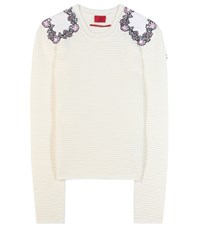 Moncler Gamme Rouge Virgin Wool Sweater With Applique White