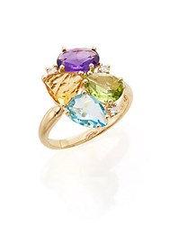 Effy Amethyst Blue Topaz Citrine Peridot Diamond And 14K Yellow Gold Ring Gold Multi