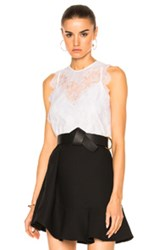 Carven Lace Sleeveless Top In White