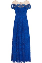 Marchesa Notte Embroidered Tulle Gown Royal Blue