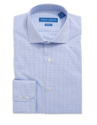 Vince Camuto Modern Fit Checkered Dress Shirt Blue