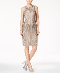Adrianna Papell Beaded Halter Cocktail Dress Taupe Platinum