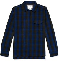 Altea Checked Virgin Wool Overshirt Blue