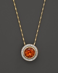 Bloomingdale's Madeira Citrine And White Sapphire Pendant On 14K Yellow Gold Chain 18 Yellow Gold White Sapphire