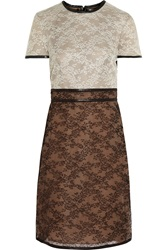 Valentino Leather Trimmed Silk Lace Dress White
