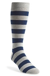 Men's The Tie Bar 'Super Stripe' Socks Grey Grey Blue