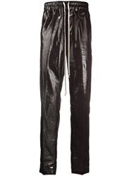 Rick Owens Patent Track Trousers Brown