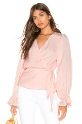 Line And Dot Wrap Blouse Pink