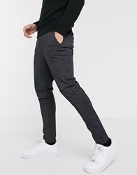 Brave Soul Rock Tapered Drawstring Trousers In Check Grey
