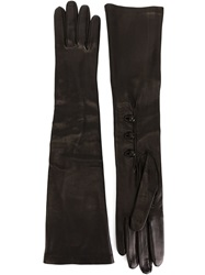Alexander Mcqueen Long Lambskin Gloves Black
