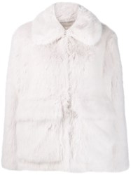 Zadig And Voltaire Fashion Show Mays Faux Fur Coat White