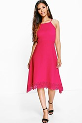 Boohoo Dani Lazer Hem Strappy Midi Skater Dress Raspberry