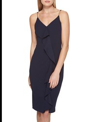Guess Ruffle Front Scuba Crepe Dress Navy