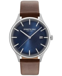 Kenneth Cole New York Men's Brown Leather Strap Watch 42Mm Kc15112001 Silver