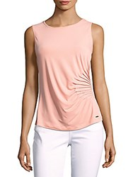 Calvin Klein Solid Pleated Tank Top Peach
