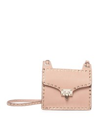 Rockstud Lock Flap Square Shoulder Bag Taupe Brown Valentino