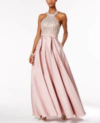 Xscape Evenings Beaded Open Back Halter Ball Gown Rose